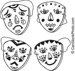 scarabocchiare, set, maschera
