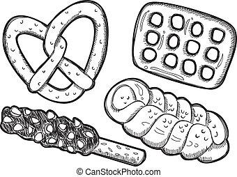 scarabocchiare, set, pretzel