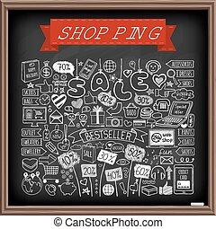 scarabocchiare, set, shopping