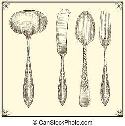 scarabocchiare, set., stile, coltelleria