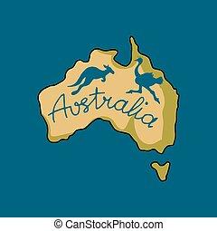 scarabocchiare, stile, australia, continente