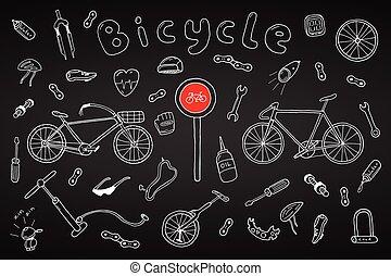 scarabocchiare, style., bicicletta, collezione, mano, disegnato