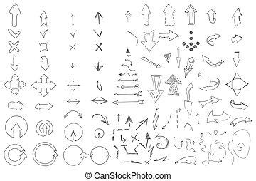 scarabocchiare, style., frecce, mano, disegnato, collection.