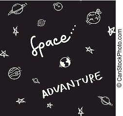scarabocchiare, tema, seamless, fondo, spazio