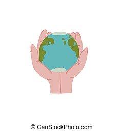 scarabocchiare, terra, stile, disegnato, pianeta, mano, mani, concept.