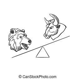scarabocchiare, toro, finanziario, orso, icone