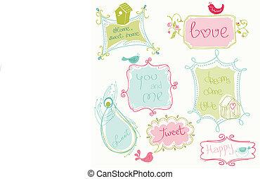 scarabocchiare, uccello, case, dolce, cornici, uccelli