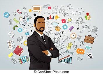 scarabocchiare, uomo affari, sopra, americano, disegnare, africano, schizzo, mano, concetto, corsa