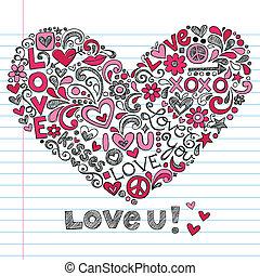 scarabocchiare, valentine, amore, giorno, cuore
