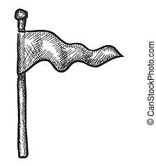 scarabocchiare, vettore, bandiera, illustrazione