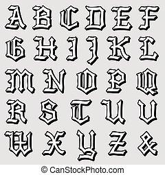 Alfabeto gotico completo ornamentale turbini completo for Piani di casa cottage gotico