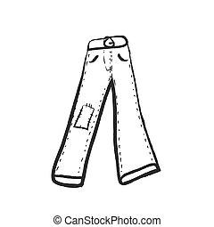 scarabocchiare, vettore, illustrazione, jeans