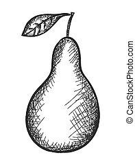 scarabocchiare, vettore, illustrazione, pera