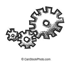 scarabocchiare, vettore, ingranaggi, illustrazione