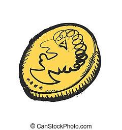 scarabocchiare, vettore, moneta, oro, icona
