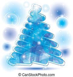 scarabocchio, albero natale, in, blu