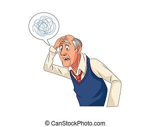 scarabocchio, bolla, discorso, vecchio, nonno