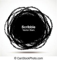 scarabocchio, matita, cerchio, disegnato, mano