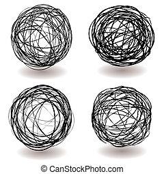 scarabocchio, palla, icona