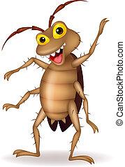 scarafaggio, cartone animato, ondeggiare, mano