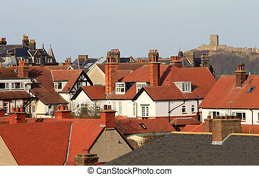Scarborough Castle and houses