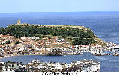 Scarborough harbor and castle headland, North Yorkshire,...