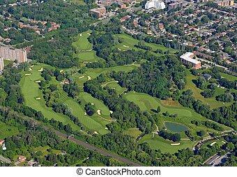 scarborough, terrain de golf, aérien