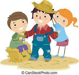 Scare Crow - Illustration of Kids Making a Scarecrow