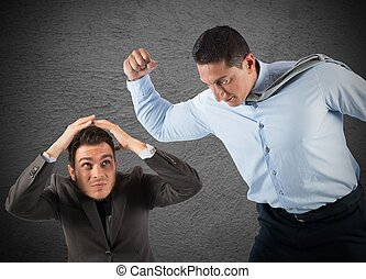 Angry big boss punches the employee frightened