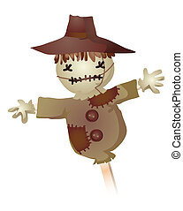 Scarecrow - A stuffed scarecrow isolate on a white ...