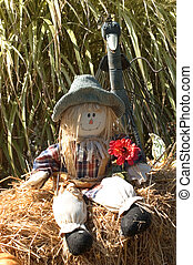 Scarecrow and bird