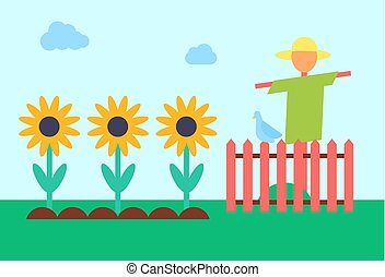 Scarecrow and Sunflower Field Vector Illustration - ...