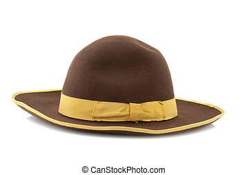 Scarecrow brown felt hat with with yellow loop