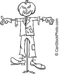 scarecrow cartoon for coloring book - Black and White...