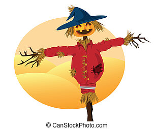 scarecrow cartoons for background related to harvest, ...