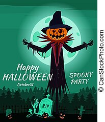 Scarecrow character Halloween at the cemetery with a Jack O Lantern head pumpkin in ripped coat. Isolated on white background cartoon style