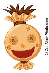 Scarecrow head with big smile illustration