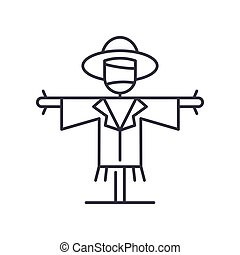 Scarecrow icon, linear isolated illustration, thin line vector, web design sign, outline concept symbol with editable stroke on white background.