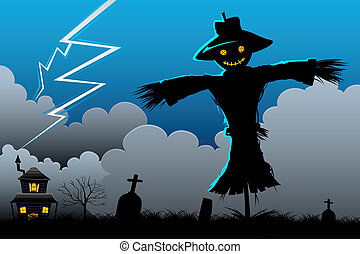 Scarecrow in Scary Night