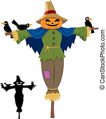 Scarecrow isolated on white. No transparency and gradients ...