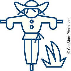 Scarecrow line icon concept. Scarecrow flat vector symbol, sign, outline illustration.