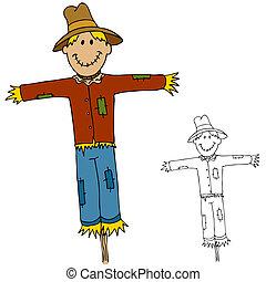 An image of a scarecrow man.