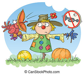 Scarecrow: Noise Prohibited - Scarecrow with a red bird and...