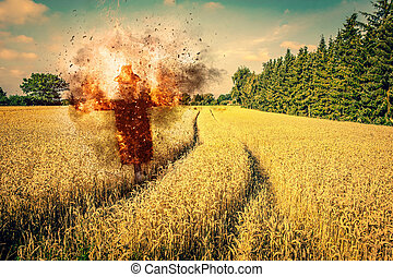 Scarecrow on fire on a field with dry grain