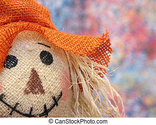 Portrait of a colorful scarecrow.