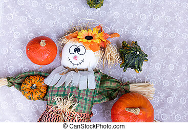 Scarecrow, pumpkin to celebrate halloween and thanksgiving. Harvest and fall concept.