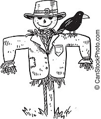 Scarecrow sketch - Doodle style sketch of a farm scarecrow ...