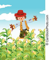 Scarecrow standing in corn field