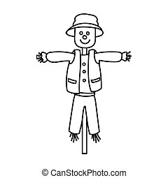 Scarecrow vector icon. Outline vector icon isolated on white background scarecrow.