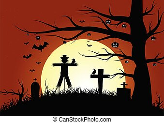 scarecrow with pumpkin ghost in woods, for Halloween theme